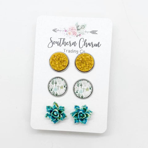 12mm Mustard/Teal & Mustard Cacti/Teal & Mustard Succulents in Stainless Steel Settings