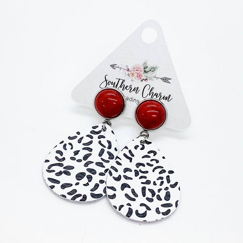 "2"" Red Turquoise & White Snow Leopard Dangles"