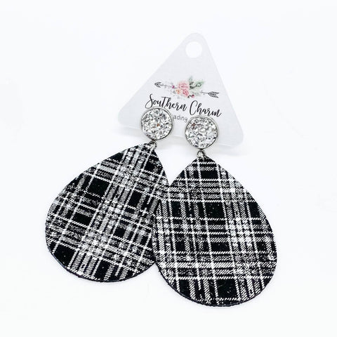 "3"" Silver & White/Black Plaid Dangles"