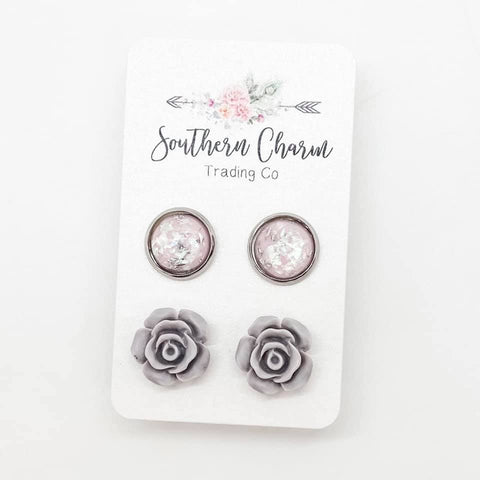 10mm Pink and Silver Fleck & 12mm Grey Roses in Stainless Steel Settings