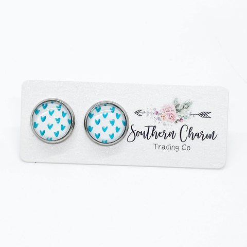 12mm Teal Hearts on White in Stainless Steel Settings