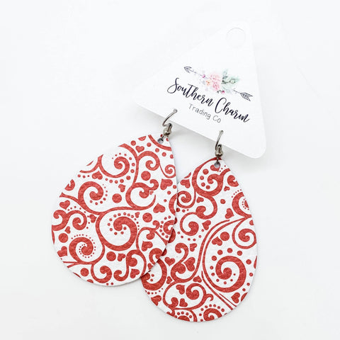 "2.5"" Red & White Heart Swirl Teardrops"