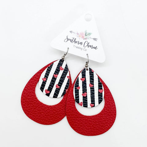 "2.5"" Black/White Striped Hearts & Red Layered Hoops"