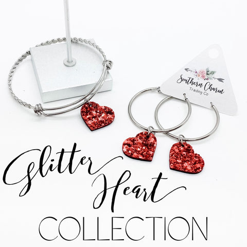 Red Glitter Heart Collection