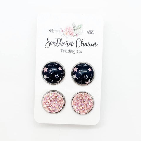 12mm Black/Blush Stars & Blush Shimmer in Stainless Steel Settings