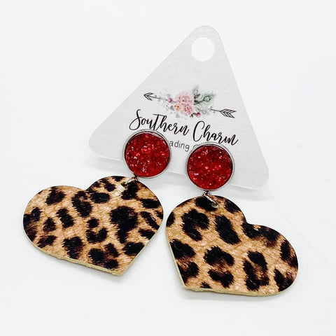 "2"" Red and Leopard Heart Dangles"