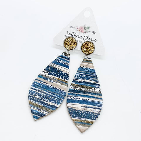 "3"" Gold and Gold/Navy Striped Long Dangle Corkies"