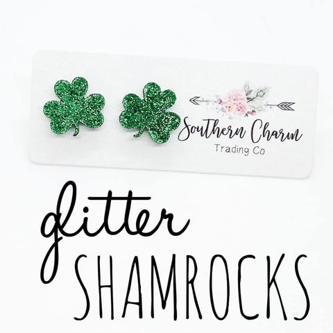 Green Glitter Shamrocks (Acrylic)