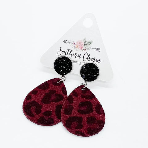 "2"" Black and Deep Red Suede Leopard Dangles"