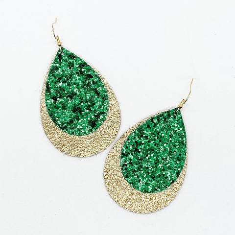 "2.5"" Green Glitter & Metallic Gold Layered Teardrops (leather)"
