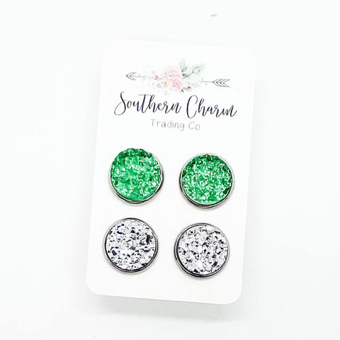 12mm Green Sparkles & Silver in Stainless Steel Settings