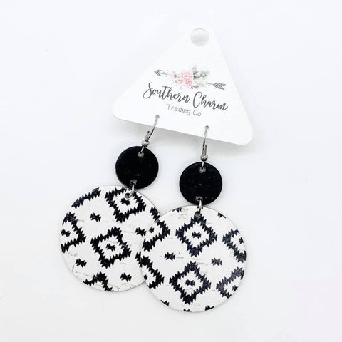 Black/White & Black Aztec Piggyback Corkies