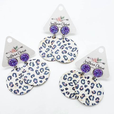 "2.5"" Purple Shimmer & Pastel Leopard Round Dangle Piggyback Corkies"