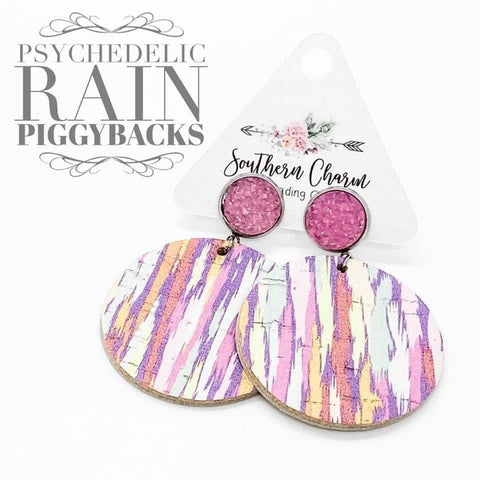 "2.5"" Pastel Pink Sparkles & Psychedelic Rain Dangle Piggyback Corkies"