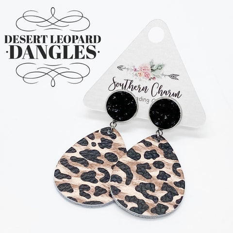 "2"" Black & Desert Leopard Dangles (leather)"