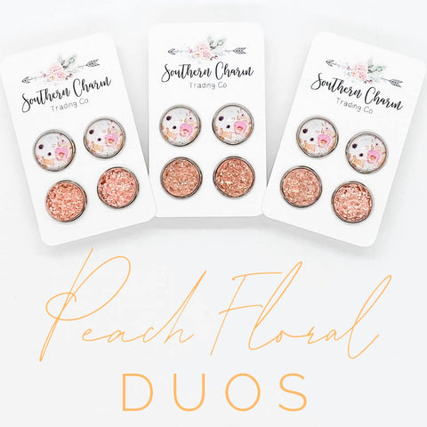 12mm Peach Floral & Peach Sparkles in Stainless Steel Settings