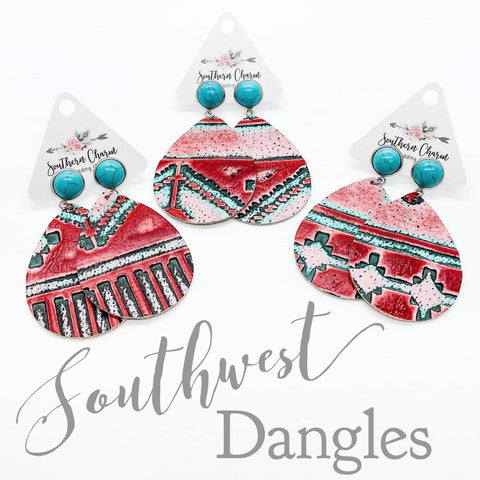 "2.5"" Turquoise & Watermelon Embossed Southwest Dangles"