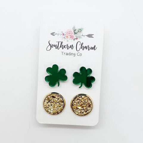 12mm Green Mirror Shamrocks and Gold in Gold Settings