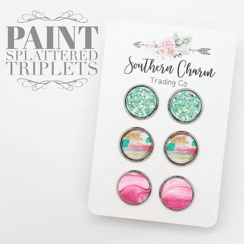 12mm Mint Sparkles/Paint Splatter/Pink Marble in Stainless Steel Settings