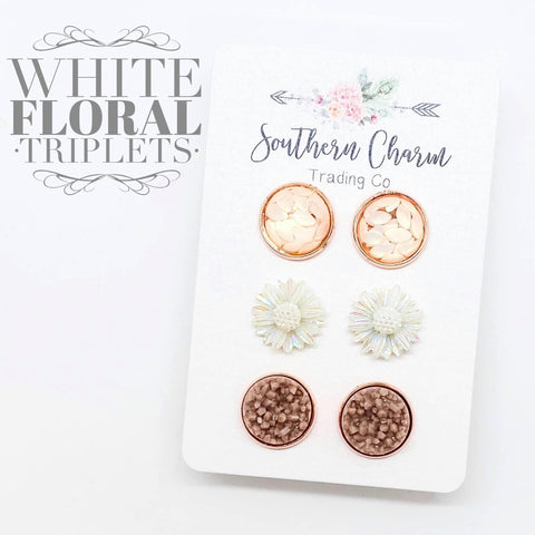 12mm Cream Petals/White Flowers/Almond in Rose Gold Settings