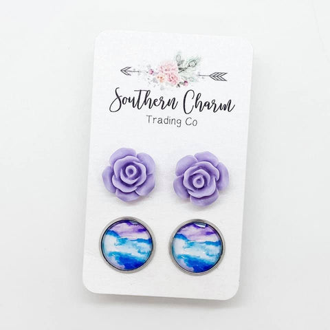 12mm Purple Roses and Purple/Blue Watercolors in Stainless Steel Settings
