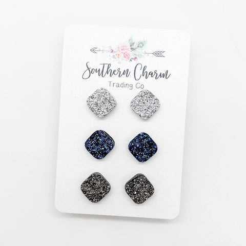 10mm Silver/Ice Blue/Gunmetal Squares