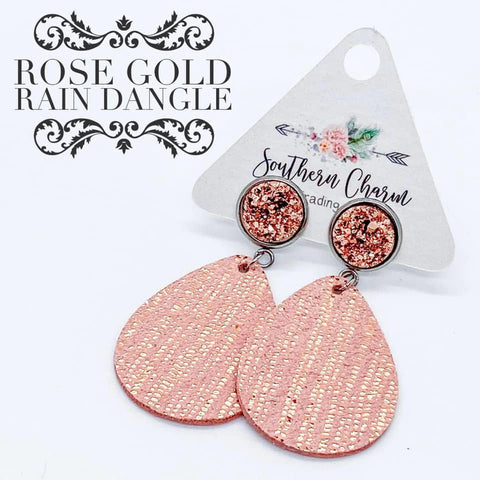 "2"" Rose Gold and Pink Rain Dangles"