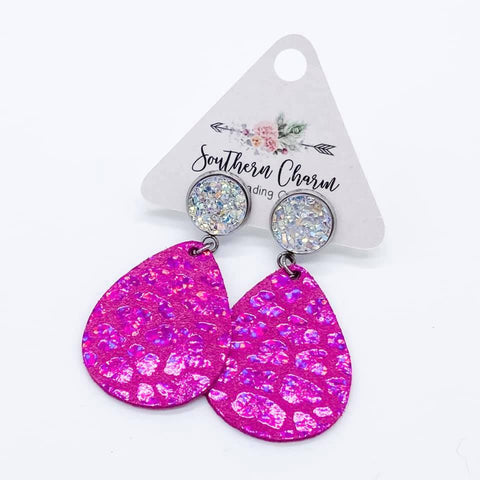"2"" Crystal and Hot Pink Leopard Dangles"