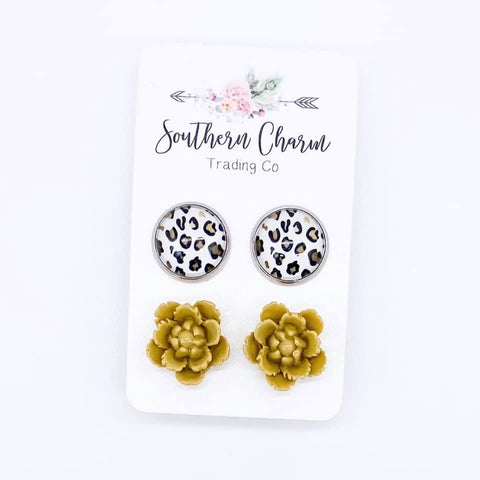 12mm Gold/Black Leopard and Yellow Flowers in Stainless Steel Settings