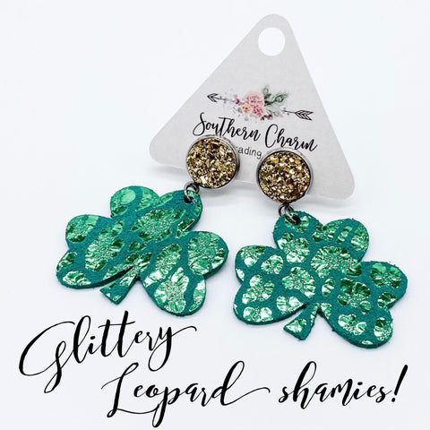 "2"" Gold & Glittery Green Leopard Shamrock Dangles (Leather)"