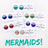 12mm Mermaids in Stainless Steel Settings (6 colors)