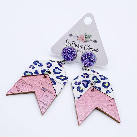 Purple Shimmer and Pastel Leopard/Pink Shimmer Double Arrow Dangles