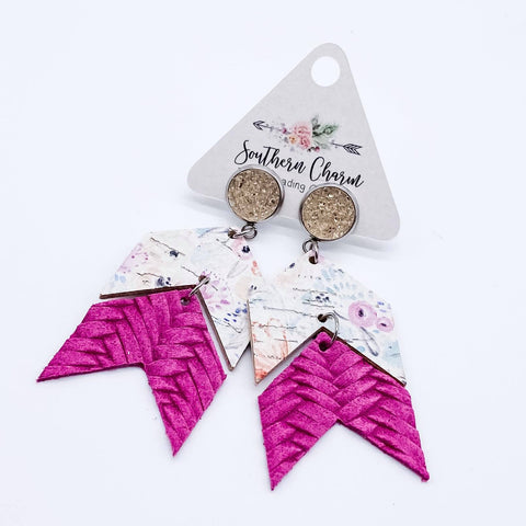 Champagne and Pink/Yellow Floral and Hot Pink Braided Double Arrow Dangles