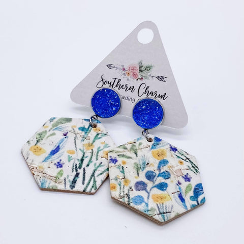 Blue Sparkles & Blue/Yellow Floral Hexi Dangle Corkies