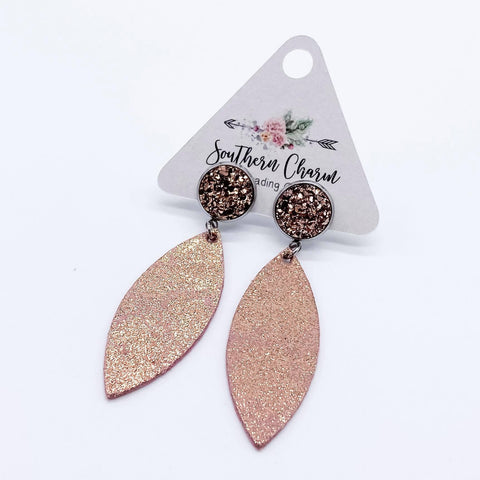 Rose Gold & Vintage Rose Gold Crackle Dangle Leafs (leather)