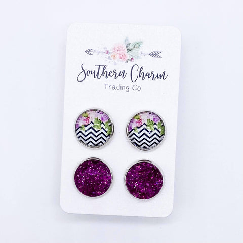 12mm Fuschia Floral/ZigZag & Fuschia Sparkles in Stainless Steel Settings