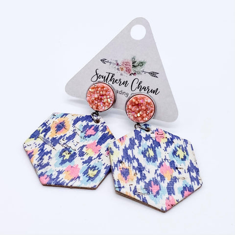 Coral Shimmer & Bright Tribal Hexi Dangle Corkies