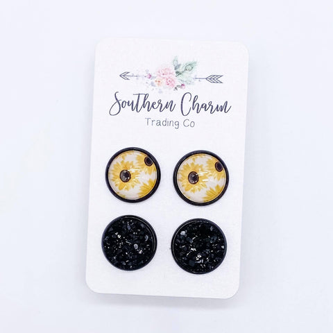 12mm Sunflowers & Black in Black Settings