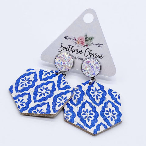 White & Blue Moroccan Hexi Dangle Corkies