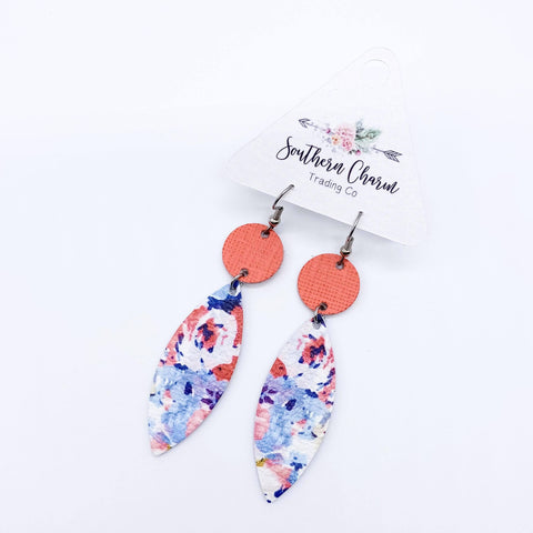 Coral Saffiano & Coral/Blue Floral Piggyback Leafs (leather)