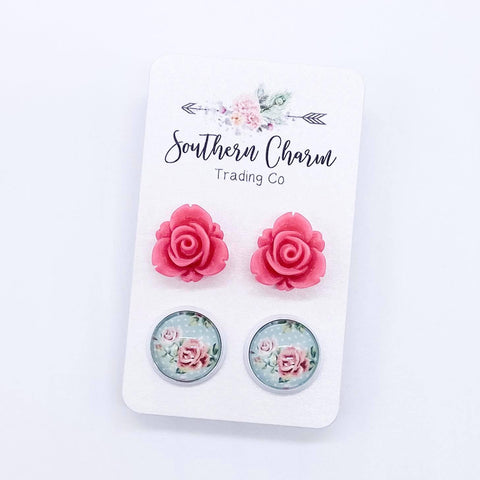 12mm Hot Pink Roses & Pink Roses on Mint/White Polka Dots in White Settings