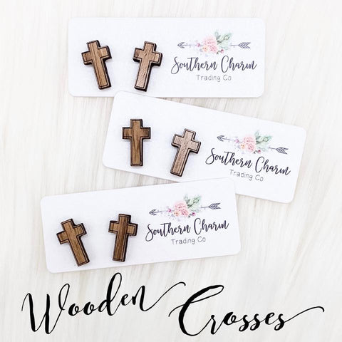 Wooden Cross Studs**PRE-SALE**