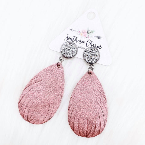 "2.5"" Silver & Shimmer Pink Feather Dangles (Leather)"