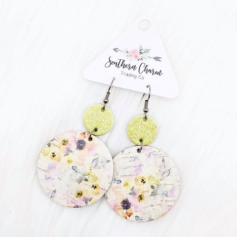 "2.5"" Yellow Glitter & Yellow/Pink Floral Piggyback Corkies"