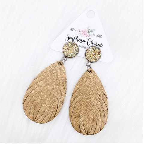 "2.5"" Champagne & Bronze Feather Dangles (Leather)"