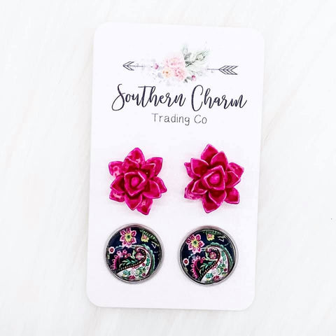 12mm Hot Pink Succulents and Paisley Floral in Stainless Steel Settings