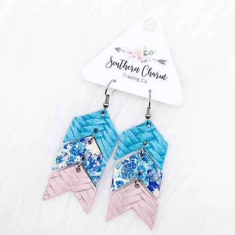 "Braided Mint/Watercolors/Braided Pink Mini Arrows Dangles (2.5"")"
