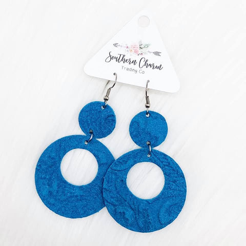 "2.5"" Turquoise Embossed Suede Double Os"