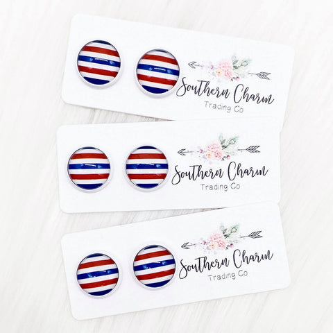 12mm Red/White/Blue Stripes in White Settings