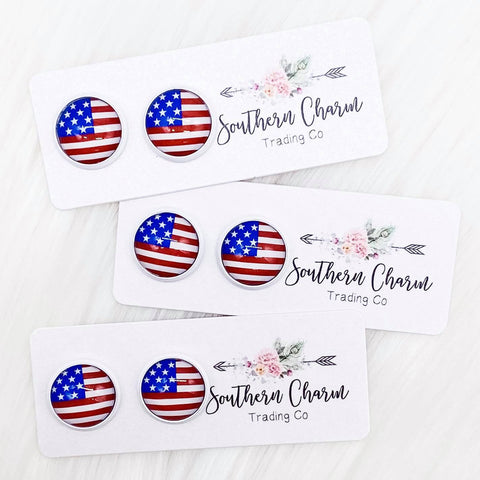 12mm New American Flags in White Settings